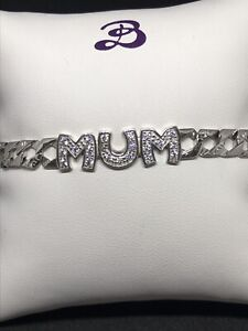 925 Sterling Silver MUM Ladies Bracelets with Curb Design