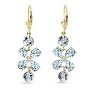 Aquamarine Flower Earrings In 14K Yellow Gold (5.32 ct. tw