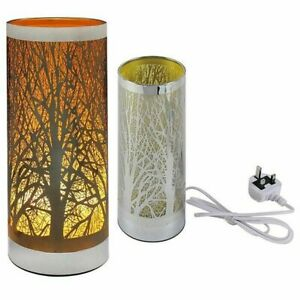 Desire Aroma Cylinder Lamp silver with Trees Electric Bulb Wax Melt Burner