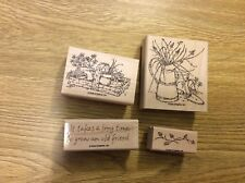 Stampin' Up! 4 Wooden Mounted Rubber Stamps Stamping Long Time Friend Set