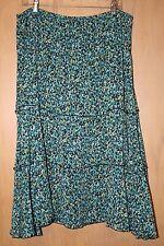 Skirt~Alfred Dunner~Sz 18P Elastic Waist~Black Green Teal Print~Mid Calf Length