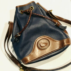 Authentic...Vintage    Dooney & Bourke  Navy Blue & Brown Pebbled Leather Lge