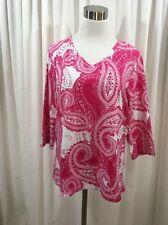 D & CO DENIM COMPANY KNIT TOP Tag Size Large Paisley Pink White