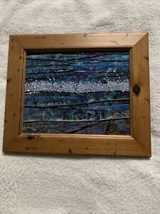Fabric Collage Seascape In Frame 11 X 13 Inches