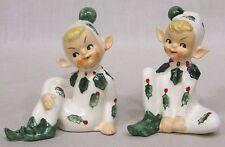 Vintage LEFTON Christmas Holly Pixies Pair Salt Pepper Shakers 1950s