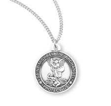 "St Saint Michael Round Sterling Silver Medal - 0.9"" x 1.4""+ 18"" Chain S1613"