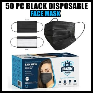 NEW BLACK 50 PC Face Mask Mouth & Nose Protector Protection Masks with Filter