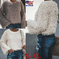 Women Winter Fur Fluffy Crew Neck Hoodie Pullover Jumper Top Casual Sweater Coat