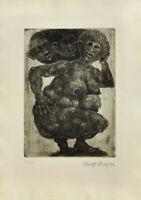 Rudolf Schwaiger: Ohne Titel. Frauenakt. Original Radierung. Nr. 32/ 100.