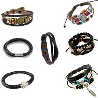 Men's Charm Leather Wrap Wristband Cuff Magnetic Buckle Anchor Bracelet Bangle