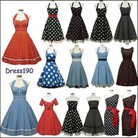 dress190 Polka dot 50s Rockabilly Party Cocktail Prom Ball Bridesmaid Dress 8-26