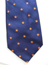 THIERRY MUGLER  NECK TIE BLUE & ORANGE STAR PURE SILK FRANCE Vintage 1980's NOS