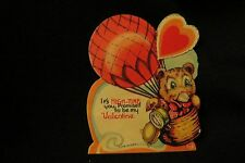 Vintage HOT AIR BALLOON & Bear Valentine card c 1940s