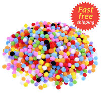 500 Small Pompoms Craft Pompoms Fluffy Craft Pom Poms 8mm Mixed Colours