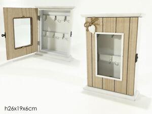 Cassetta portachiavi da parete in legno porta chiavi 6 posti shabby con chiusura