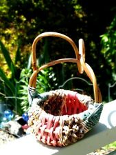 VTG Woven Buttocks Basket Curly Vine HandleTurquoise Green/Natural