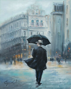 J. Litvinas Original Oil Painting 'RAINY DAY' 8 by 10 inches