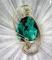TURQUOISE GEMSTONE PENDANT, NECKLACE IN STERLING SILVER WIRE WRAPPED