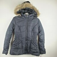 RAMPAGE Black Puffer Furry Hooded Zipper Jacket Women's Size Medium