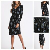 Marks & Spencer Per Una Black Floral Ditsy Retro Wrap Office Party Dress rrp £49