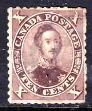 CANADA #17ii 10c BROWN, 1859 FIRST CENTS PERF11.75 on THICK PAPER, F, USED