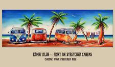 DEBORAH BROUGHTON ART Stretched Canvas Kombi Club Surf Beach Print Choose a size