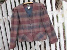 Vintage Womens Panther USA plaid wool blend blazer jacket sz 11 12 EUC ruffle