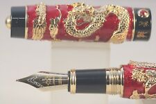 Jinhao No. 999 Series Red Cloisonné Medium Fountain Pen with Gold Trim & Nib