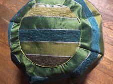 MOROCCAN SABRA SILK & WOOL POUFFE ~ FOOT STOOL ~ BEAN BAG *Shades of Green*