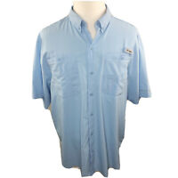Mens Columbia PFG Omni-Shade S/S Button Front Shirt Lt Blue Size XL EUC