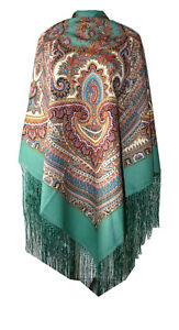 Authentic Russian Woman Floral Pavlovo Posad Scarf Shawl 100% Wool silk fringe