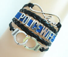 Infinity Love POLICE WIFE Handcuffs Freedom Charms Leather Braided Bracelet