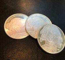 3 (Three) 1oz. Highland Mint Silver Rounds - 2020 Buffalo Design .999 Fine