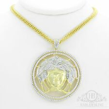 Mens 14k Yellow Gold Finish Solid 925 Silver Medusa Versace W. Silver Chain
