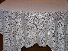 Exceptional Vintage Quaker Lace Tablecloth, Silk/Cotton Blend, Gorgeous Lace
