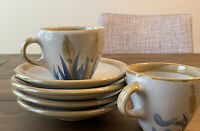 Louisville Stoneware Flying Duck 2 Cups & 4 Saucers Snack Plates