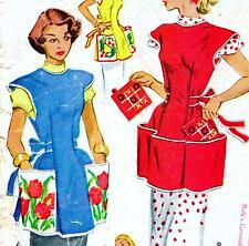 "EASY Vintage 50s APRON & TRANSFER Sewing Pattern Bust 34"" Sz 8 10 RETRO Cobbler"