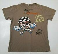 Ed Hardy Mens XL T-Shirt Skull Dice Short Sleeve Crewneck Graphic Tee