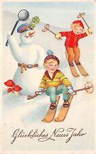 BG8648 ski snowman children clover mushroom  neujahr new year greetings germany