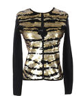 Michael Simon Cardigan Sequin Gold Black Sweater Embellished Nwt Size Small