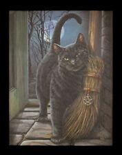 Kleine Leinwand mit Katze - Brush with Magic - Hexe Magie Bild Druck Fantasy