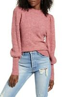 Leith Women's Crewneck Juliet Sleeve Sweater in Red Chili  XXS NEW Puff Sleeve