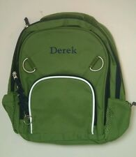 Pottery Barn Kids Small Fairfax Green and Blue Backpack with Name DEREK New!
