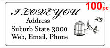 100 Personalised return address label adhesive mailing sticker 56x25mm birdcage