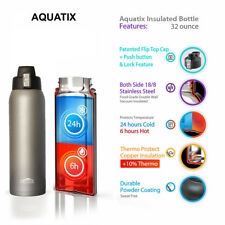 Aquatix Gray Insulated FlipTop Sport Bottle 32 ounce Pure Stainless Steel