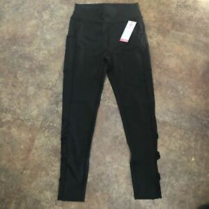 Popfit Leggings Size S Black Pop Fit 2218-20 Activewear Comfort Pockets Mesh