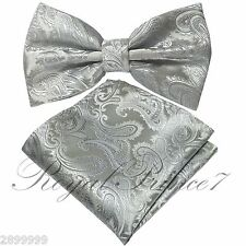 Brand NEW Silver BUTTERFLY Bow tie And Pocket Square Handkerchief Set Wedding