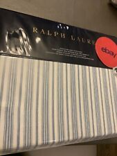 NEW RALPH LAUREN Islesboro McKensie Stripe KING Deep Fitted SHEET Blue Cream