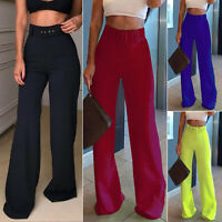Womens High Waisted Flared Trousers Wide Leg Pants Bell Bottom Fashion Trousers