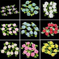 50 BIG ROSE BUDS SATIN RIBBON FLOWERS ROSEBUDS WEDDING CARD MAKING SCRAPBOOKING